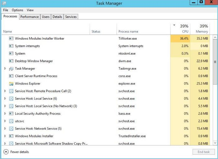 Troubleshooting application migration with Task Manager