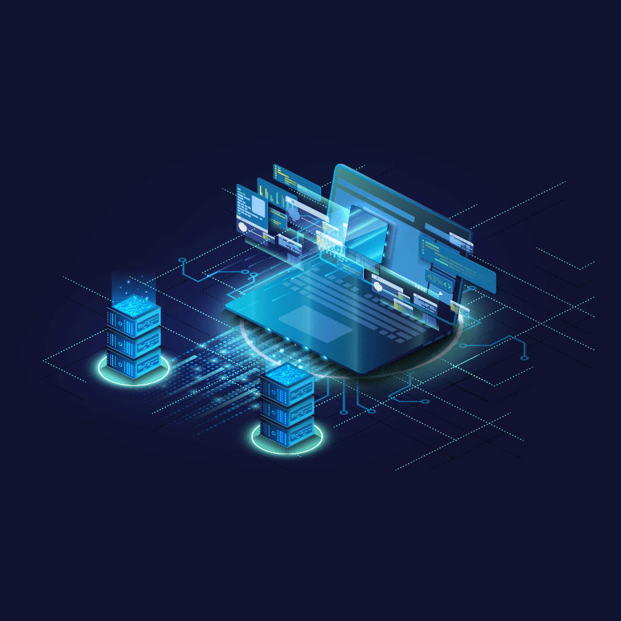 animated graphic of server towers and laptop